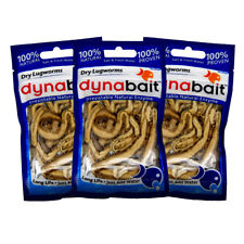 Dynabait lug/rag worms 3x  (dehydrated fishing tackle, bait, 2 years shelf life)