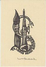 Ex-libris Henri BERTRAND gravé sur bois par Jocelyn MERCIER (1926-2006).