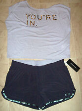 NWT NEW BALANCE HEIDI KLUM HK YOU'RE IN YOU'RE OUT DANCE TEE RUNNING SHORTS XL