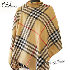Camel Beige Black Red Stripe Plaid Pashmina Scarf/Shawl/Wrap
