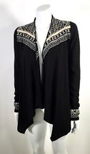Lucky Bliss Black French Terry Open Cardigan Sweater Top Ties In Back Size XS
