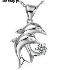 Sterling Silver Necklace Chain Crystal Dolphin Heart Love Pendant Gift Box J14
