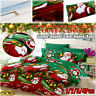 Christmas Quilt Duvet Cover Bedding Set Fitted Sheet & Pillow Case Double