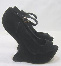 "Privileged Black 6"" Wedge Heel 2"" Platform Ankle Strap Sexy Shoe Size 7.5"
