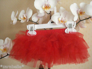 Baby Girl Short Party Red Christmas Tu-Tu Skirt Party Photo Prop 6 Layer 0-12-24