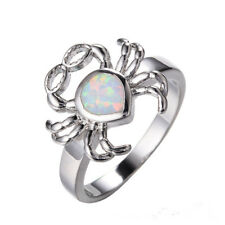 925 Silver Plated Ring glasses Crab White Opal Jewelry Christmas Gift Size 8