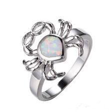 Women fashion Silver glasses Crab white blue Fire Opal Diamond Ring size 10
