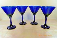 MINT LIBBEY Set 4 COBALT BLUE Stemware Champagne Cocktail MARTINI GLASSES 10 oz