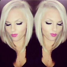 Silky Straight Blonde Bob Lace Front Wig Medium Short Bleached Knots Full Wigs Z