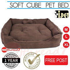 Dog Bed Cat Pet Puppy Soft Cushion Cube Mat Futon Washable Waterproof Cover Choc