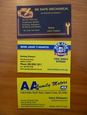 BUSINESS CARDS X 3...MECHANICAL REPAIRS...TYRES... CAR YARD /  SALES...OIL CAN