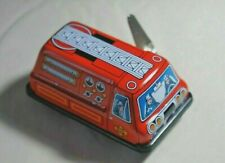 """Vintage Tin Toy New Sanko Wind Up Auto Turn 3"""" Fire Engine Truck Made in Japan"""