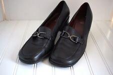 BASS Womens Sz 8.5 M Milan II Black Loafer Block Heel Career Dress Slip On Shoes