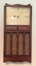 """VINTAGE 1960's """"SPARTUS"""" Wood Hutch Kitchen Clock Tested Works! USA"""