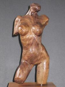 Wood Sculpture female nude classic style dance gilrl