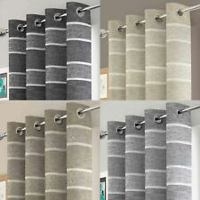 Brooklyn Stripe Eyelet Voile Panel Sheer Ring Top Metallic Bling Curtain Panels