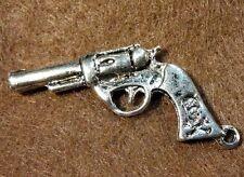 5Pcs. Tibetan Silver 3D Cowboy Hand GUN Pistol 40x22mm Charms Pendants W84
