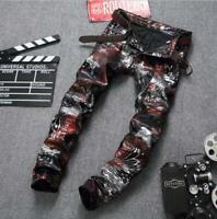 Mens Punk Rock Denim Jeans Pants Slim Denim Jeans Trousers Hip Hop 3D Printed