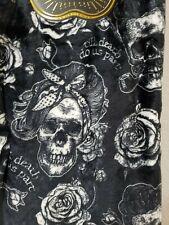 Halloween Couple Skull Skeleton Roses Smoking Pipe Throw Blanket 50 x 70 NEW