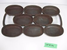 "Antique Cast Iron Oval Muffin Biscuit Kitchen Cookware Pan Mold 12 3/4"" X 7 1/2"""