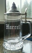 Harrell Beer Stein - Etched Glass And Intricate Pewter Lid