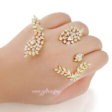 Cubic zirconia cluster palm cuff hand bracelet ring Fashion women Xmas Gift