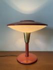 Mid Century Modern Coral Orange Dazor Saucer Desk Table Lamp Mod 2055 Rare Color