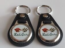 CHEVROLET BELAIR KEYCHAIN 2 PACK CLASSIC FOB CHEVY CROSS FLAG