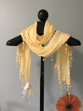 New Chico's Laura Lace Yellow Rectangular Scarf Fringe Embellished