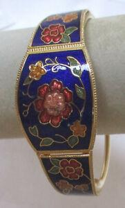Vintage Cloisonne Enamel Clamper Bracelet