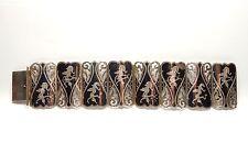 Vintage 925 Silver LARGE FILIGREE ENAMEL SIAM NIELLO WIDE PANEL BRACELET 59.2g