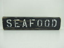15 INCH WOOD HAND PAINTED SEAFOOD SIGN NAUTICAL MARITIME (#S666)