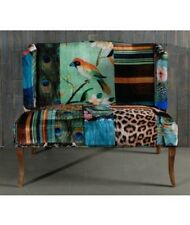 IMOGEN LOVE SEAT /SOFA  - LUXURIOUSLY UPHOLSTERED IN BIRD PATTERN FABRIC  CHAIR