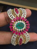 Pave 5.41 Carats Natural Diamonds Hinged Bangle Bracelet In 585 Stamped 14K Gold