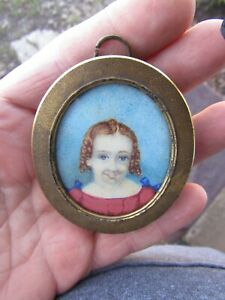 Antique Portrait Miniature Child Red Hair Folk Art Painting Watercolor Gouache