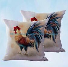 US Seller- set of 2 farmhouse animal rooster chicken cushion cover pillow cover