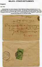 MALAYA SINGAPORE POSTAGE DUE BOXED 8c in RED 1922 from INDIA KG5 1/2A PAIR