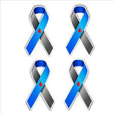 diabetes awareness ribbon car bumper stickers set of 4 vinyl 38 x 65mm blue gray