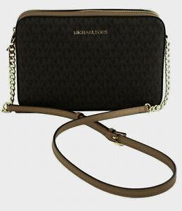 Michael Kors Shoulder Cross Body Box Bag Brown Logo Pattern PVC & Leather Medium