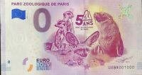 BILLET 0  EURO PARC ZOOLOGIQUE DE PARIS FRANCE   2019  NUMERO 1000