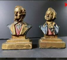 Two Vintage Armor Bronze Craftsmen Mozart & Wagner Busts /Bookends Taunton, Mass