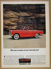 1962 Triumph 1200 Convertible red car color photo vintage print Ad