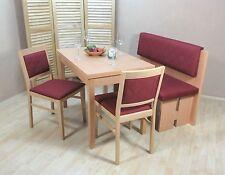 Essgruppe 4-tlg. Esstisch-Ausziehbar Stühle Bank Sitzbank Farbe: Buche Natur/Rot