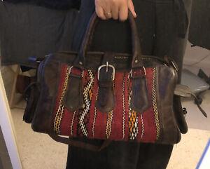 Genuine Moroccan Kilim Bag Dark Leather - Red Pattern Carpet