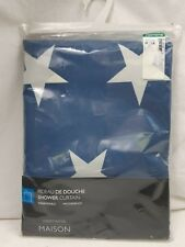 "Shower Curtain New Waterproof Blue White Stars 71"" x 71"""