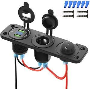 12V Car Boat Cigarette Lighter Socket Dual USB Port Adapter Charger Switch Panel