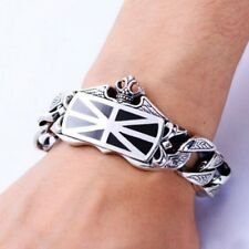Curb Chain Design Men's Fashion Bracelet Real 925 Sterling Solid Silver Crown