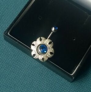 BELLY BAR SHEILD 925 SOLID STERLING SILVER ROYAL BLUE FLOWER