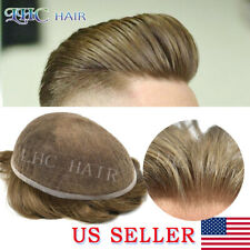 Mens Toupee Full French Lace Remy Hair System For Men Bleached Knots Transparent