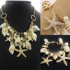 Star Fish Shell Faux Pearl Bracelet OR Necklace statement chunky elegant UK SELL